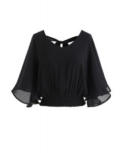 Butterfly Flare Sleeves V-Neck Crop Top in Schwarz