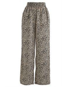 Leichte Hose mit weitem Bein und Leopardenmuster
