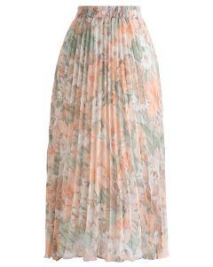 Herrlicher Blumenfaltenrock aus Chiffon in Koralle