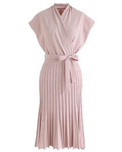Plissee ärmelloses Wickelstrickkleid in Pink