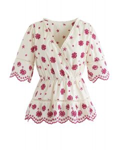 Floral Broderie Anglaise Wrap Schößchen Top in Berry