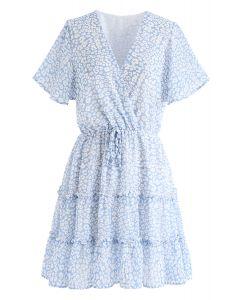 Enchanted Floret Ruffle Wrap Chiffon Kleid
