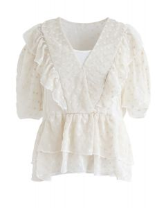 Floret Embroidery Ruffle Sheer Top in Creme