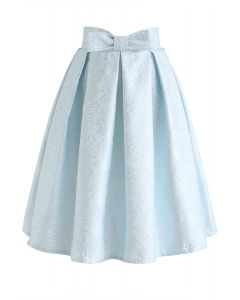 Bowknot Plissee Jacquard Midirock in Baby Blue