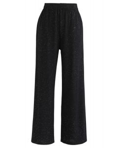 Funkelnde Hose mit weitem Bein und voller Länge in Schwarz