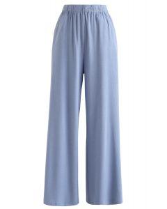 Funkelnde Hose mit weitem Bein und voller Länge in Blau