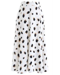 Bicolor Irregular Spots Print Midi Skirt in White