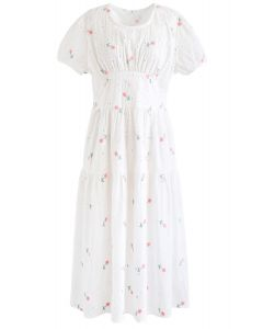 Pink Posy Embroidered Eyelet Midi Dress