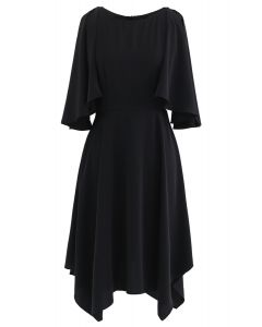 Asymmetric Cold-Shoulder Midi Dress in Black