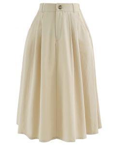Slant Pockets A-Line Midi Skirt in Cream