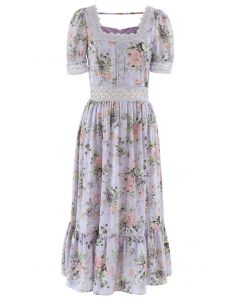 Crystal Button Crochet Floral Square Neck Dress in Lavender