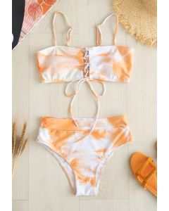 Lace-Up Front Tie-Dye High Waist Bikini Set
