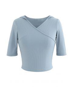 Stripe Crisscross Front Hooded Crop Sports Top in Baby Blue