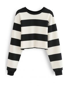 Black and White Stripes Cropped Sweatshirt