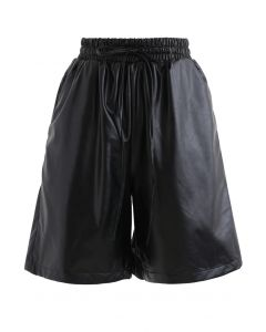 Drawstring PU Leather Shorts in Black