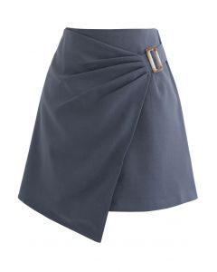 Side Ruched Belt Asymmetric Mini Skirt in Grey