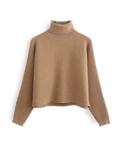 Basic Rib Knit Cowl Neck Crop Sweater in Caramel