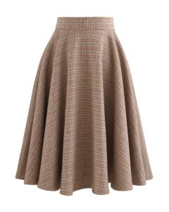 Check Print Wool-Blended A-Line Skirt