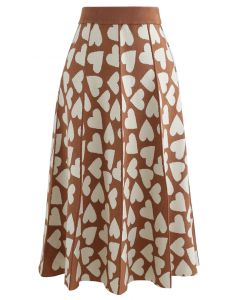Full of Love A-Line Knit Midi Skirt in Caramel