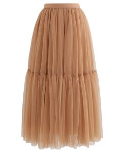 Can't Let Go Mesh Tulle Skirt in Orange