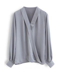 Satin Surplice Neck Sleeves Top in Grey