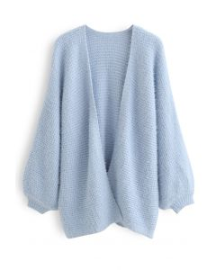 Fuzzy Open Front Waffle Knit Cardigan in Blue