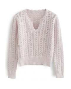 V-Neck Hollow Out Soft Touch Knit Sweater in Light Pink