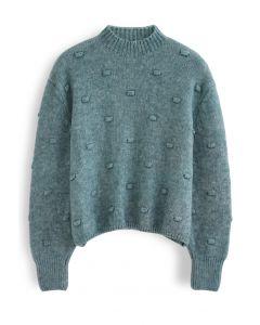 3D Dot High Neck Knit Sweater in Green