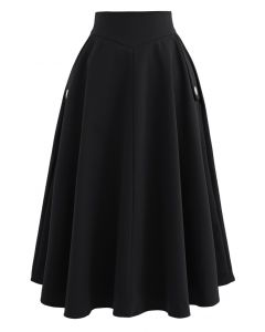 Classic Simplicity A-Line Midi Skirt in Black