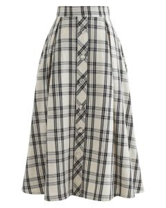 Black Check Button Trim Pleated Skirt