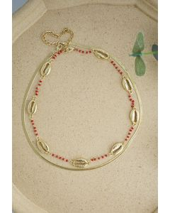 2 Packs Golden Shell and Chain Necklaces