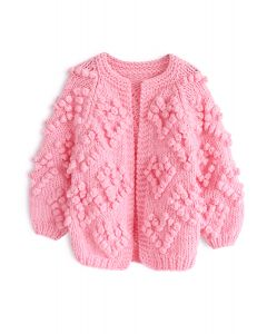 Moderner rosa Your Love Strick Cardigan für Kinder