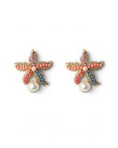 Pendientes estrella de mar con decoración de perlas