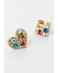 Set de aretes cuadrados de corazón de diamante