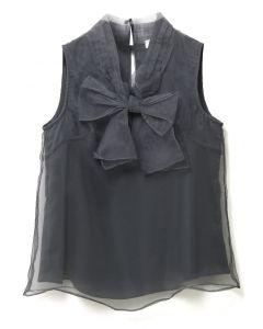 Dunkelgraues, ärmelloses Organza-T-Shirt