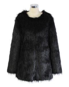 Chicwish glamouröser schwarzer Kunstpelzmantel