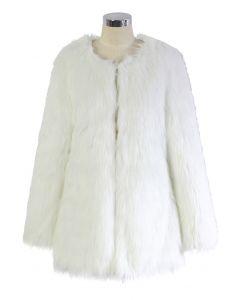 Chicwish glamouröser weißer Kunstpelzmantel