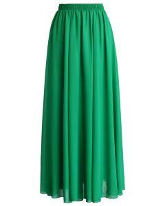 Langes Kleid aus smaragdgrünem Chiffon