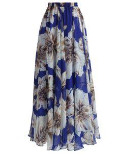 Wunderschöner langer Blumenrock in Blau