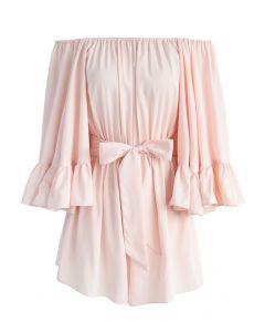 Por el lujo de ello - Schulterfreier Playsuit in Pink