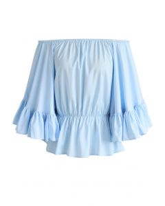 Für den Luxus - Schulterfreies Top en Blau