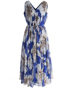 Wunderschönes langes geblümtes Chiffonkleid in Blau