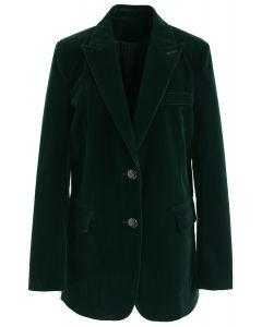 Elegancia noble - blazer de terciopelo en verde oscuro