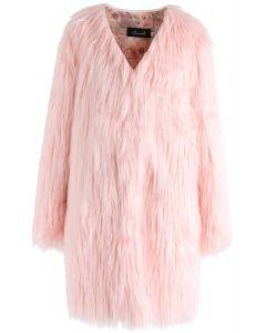 Mein eleganter langer Kunstfellmantel in Pink