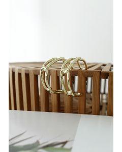 Gold Clip Circle Earrings