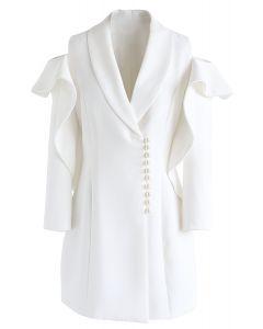 Radiant Pearls - Schlauchkleid mit V-Ausschnitt und kaltweißen Schultern