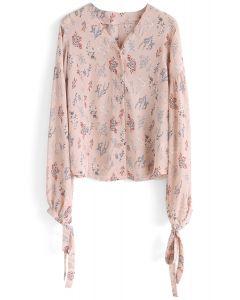 Zarte Blume - Hautfarbe Rosa Chiffon-Top mit V-Ausschnitt