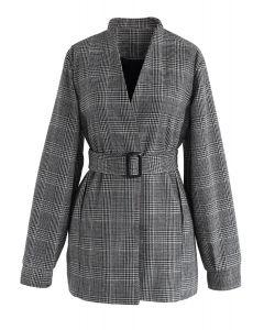 Refinado moderno - blazer de tweed a cuadros en gris