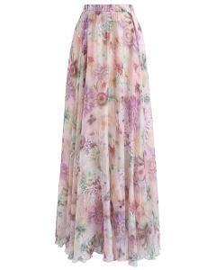 Sonnenblume Blume - Rosa Aquarell Chiffon langen Rock