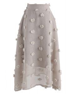 Cotton Candy - Grau-brauner Rock mit purer 3D-Blüte